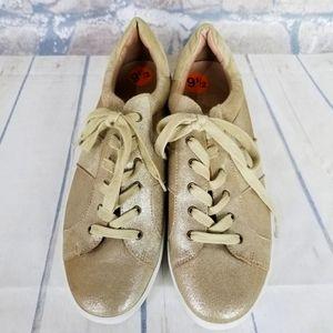 Joie Dakota Metallic Sneakers 9 1/2 Gold Leather